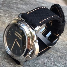 Black Rolled Canvas Strap