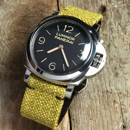 Yellow Leather Backed Canvas Strap