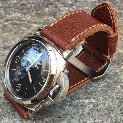 Pebbled Brown Leather Strap