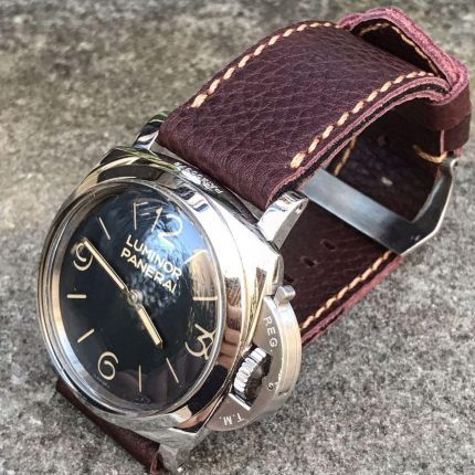 Pebbled Reddish Brown Leather Strap