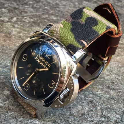 Camouflage Leather Backed Canvas Strap