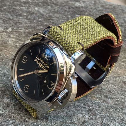 Green Leather Backed Canvas Strap