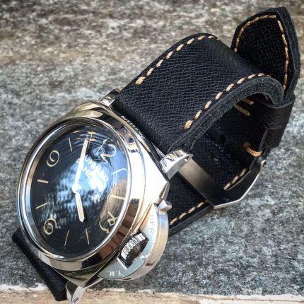 Saffiano Black Leather Strap